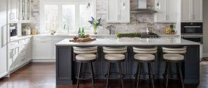 iced white quartz kitchen