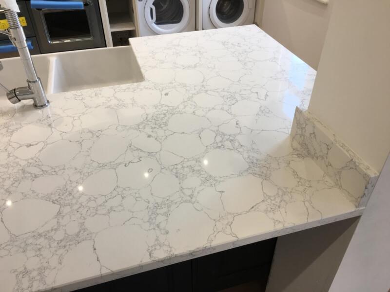 White quartz kitchen countertops (2)