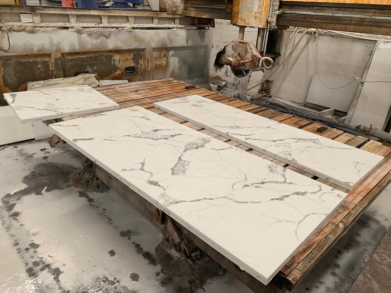 quartz white with grey veins