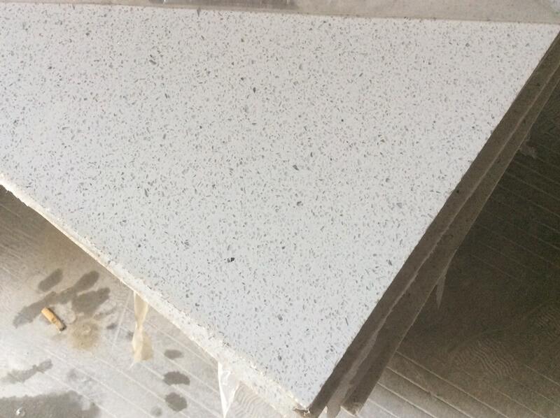 sparkling white quartz kitchen