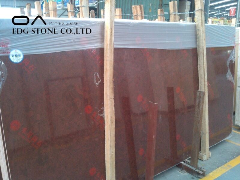 Red artificial marble
