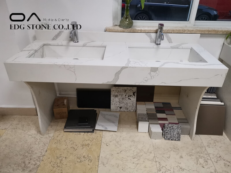quartz double sink vanity top