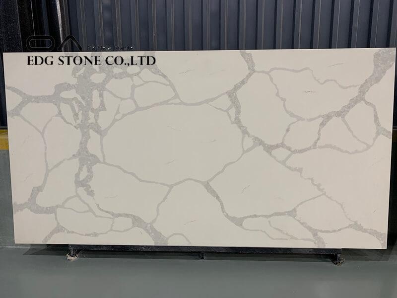 white arabesque quartz slab