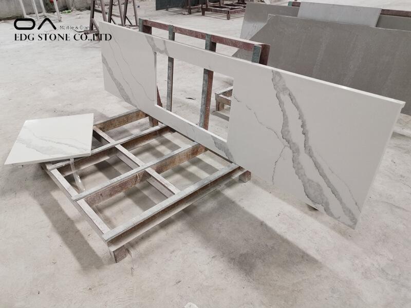 white quartz worktop kitchen