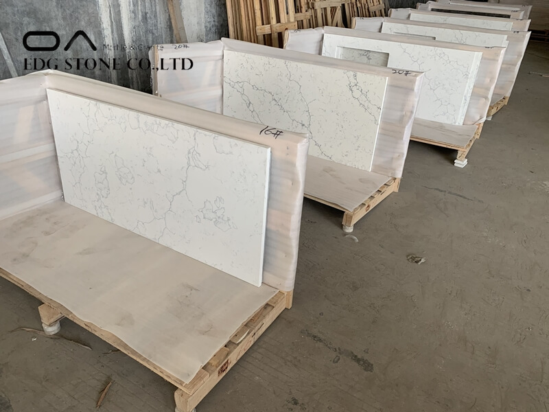 white quartz with gold veins countertops